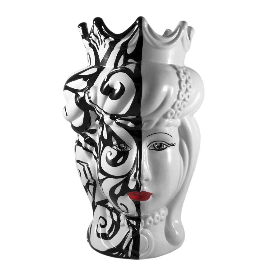 Testa di Moro Donna Bianco e Nero Moderno H 35 cm